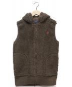 Gymphlex(ジムフレックス)の古着「ボアフーデッドベスト」|ブラウン