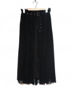 ROSE BUD(ローズバッド)の古着「ウエストベルトプリントスカート」 ブラック