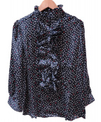 NARA CAMICIE(ナラカミーチェ)の古着「フリルスタンドカラーシャツ」|ブラック