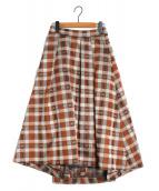 GRACE CONTINENTAL(グレースコンチネンタル)の古着「チェックフレアスカート」|ブラウン
