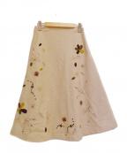 Jocomomola(ホコモモラ)の古着「フレア刺繍ウールスカート」|ベージュ