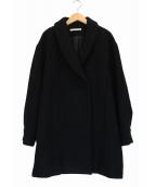 MERVEILLE H.(メルベイユアッシュ)の古着「二重織メルトンショールカラーコート」 ブラック