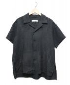 ETHOSENS(エトセンス)の古着「ジャガード半袖シャツ」|ブラック