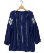 ne Quittez pas(ヌキテパ)の古着「 スリットネック エスニック 刺繍ブラウス 」|ブルー