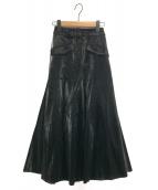 Ameri VINTAGE(アメリビンテージ)の古着「IRREGULAR FLARE LEATHER SKIRT」|ブラック