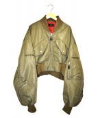 G.V.G.V(ジーヴイジーヴイ)の古着「エンブロイダードクロップドMA-1ジャケット」|オリーブ