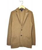 LARDINI(ラルディーニ)の古着「ウールハニカムソリッドニットジャケット」|ブラウン