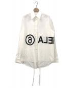 MM6 Maison Margiela(エムエムシックス メゾンマルジェラ)の古着「リバースロゴオーバーサイズシャツ」|ホワイト