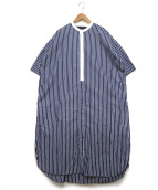 mizuiro-ind(ミズイロインド)の古着「ストライプワイドシャツワンピース」|ネイビー