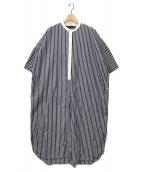 mizuiro-ind(ミズイロインド)の古着「ストライプワイドシャツワンピース」 ネイビー