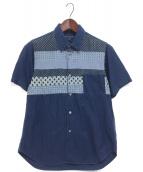 COMME des GARCONS HOMME(コムデギャルソンオム)の古着「パッチワーク半袖シャツ」|インディゴ