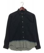BLACK COMME des GARCONS(ブラックコムデギャルソン)の古着「後染めチェックシャツ」|ブラック