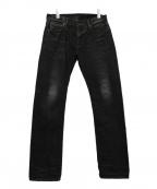 KURO(クロ)の古着「セルビッチデニムパンツ」|ブラック