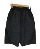 Y-3(ワイスリ)の古着「ボタニカルジャカードハーフパンツ」 ネイビー×ブラック