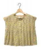 ANTIPAST(アンティパスト)の古着「刺繍エンブロイダリープルオーバーブラウス」|ベージュ×イエロー