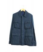TOMORROW LAND(トゥモローランド)の古着「リネンウールファティーグジャケット」 ネイビー