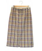 La TOTALITE(ラトータリテ)の古着「バレンシアチェックジップタイトスカート」|ベージュ×パープル