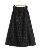 RIM.ARK(リムアーク)の古着「サイドプリーツジャガードスカート」|ブラック