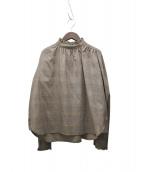iNtimite(アンティミテ)の古着「グレンチェックフリルシャツ」 ブラウン