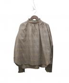 INTIMITE(アンティミテ)の古着「グレンチェックフリルシャツ」|ブラウン