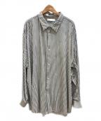 ETHOSENS(エトセンス)の古着「交差ストライプシャツ」|ネイビー×ホワイト