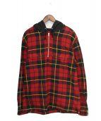 Supreme(シュプリーム)の古着「Hooded Plaid Half Zip Shirt」 レッド