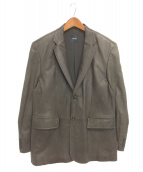 HUGO BOSS(ヒューゴボス)の古着「テーラードラムレザージャケット」|ブラウン