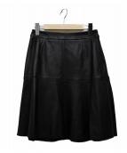 Viaggio Blu(ヴィアッジョブル)の古着「ラムナッパレザーフレアスカート」|ブラック