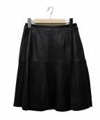 Viaggio Blu(ビアッジョブルー)の古着「ラムナッパレザーフレアスカート」 ブラック