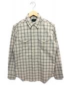 Stevenson Overall Co.(スティーブンソンオーバーオール)の古着「チェックウエスタンシャツ」|ベージュ