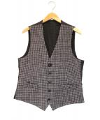LARDINI(ラルディーニ)の古着「ウールツイードジレ」|エンジ×グレー