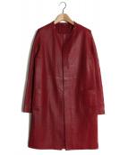()の古着「パンチングレザーノーカラーコート」 レッド