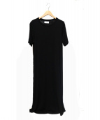 Calvin Klein PLATINUM(カルバン・クライン プラティナム)の古着「マットジャージーマキシワンピース」|ブラック