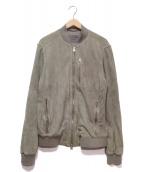 ALL SAINTS(オールセインツ)の古着「スウェードレザーボンバージャケット」|グレー