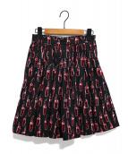 MIU MIU×ERI WAKIYAMA(ミュウミュウ×エリ ワキヤマ)の古着「プリントスカート」|ブラック