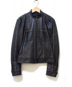 DKNY(ダナキャランニューヨーク)の古着「レザーシングルライダースジャケット」|ブラック
