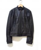 DKNY(ダナキャランニューヨーク)の古着「レザーシングルライダースジャケット」 ブラック