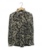 RUDE GALLERY(ルードギャラリー)の古着「ベロアペイズリー長袖シャツ」 ブラック×グレー