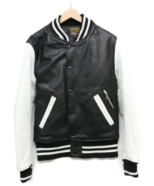 VANSON(バンソン)VANSON (バンソン) レザースタジャン ブラック×ホワイト サイズ:Sの古着・服飾アイテム
