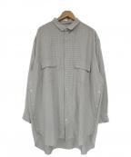 Robes&confections(ローブスアンドコンフェクションズ)の古着「サイドボタン総柄レーヨンビッグシャツ」|ホワイト
