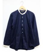 Muller & Bros(ミューラーアンドブロス)の古着「スタンドカラーシャツ」 ネイビー