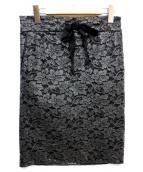 Maison Margiela 1(メゾン・マルジェラ)の古着「花柄コーティングスカート」|ブラック