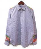 JUNYA WATANABE COMME des GARCON MAN(ジュンヤワタナベ コムデギャルソン マン)の古着「ワイドシルエットリメイク加工シャツ」|スカイブルー