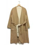 allureville(アルアバイル)の古着「ウールリバースタンドロングコート」|キャメル