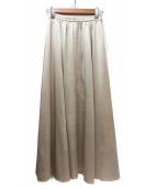 ROPE mademoiselle(ロペマドモアゼル)の古着「サテンギャザーフレアレアロングスカート」|ベージュ