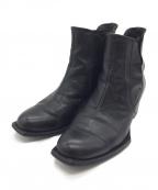 Y's YOHJI YAMAMOTO(ワイズ ヨウジヤマモト)の古着「スクエアトゥサイドゴアショートブーツ」 ブラック