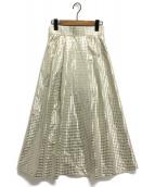 GRACE CONTINENTAL(グレースコンチネンタル)の古着「箔チェックタフタスカート」 ゴールド