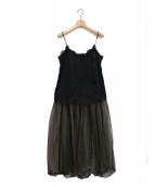 JILL STUART(ジルスチュアート)の古着「セシリーチュール異素材ドッキングキャミワンピース」|ブラック