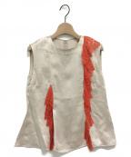 TARO HORIUCHI(タロウホリウチ)の古着「ノースリーブレースブラウス」 アイボリー