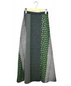 UNITED ARROWS(ユナイテッドアローズ)の古着「マルチプリントラップスカート」|グリーン×ネイビー